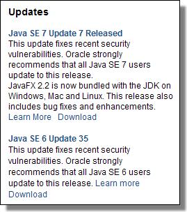 Java Updates SE7U7/SE6U35