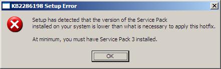 KB2286198, Setup Error