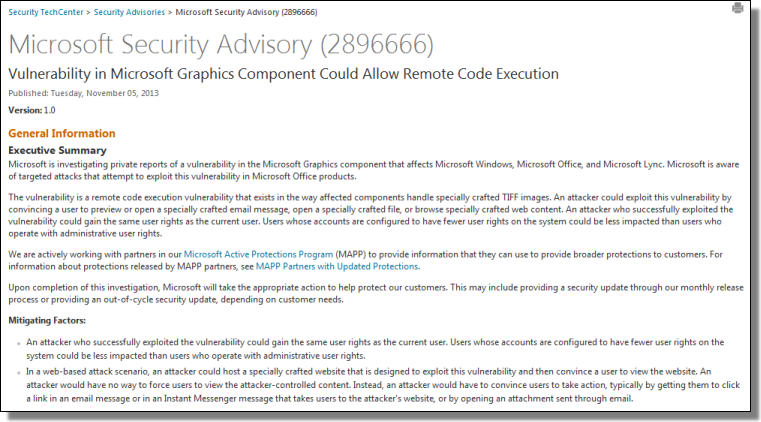 Microsoft Security Advisory (2896666)