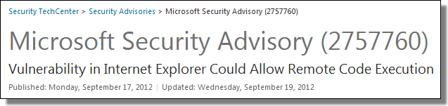 Microsoft Security Advisory (2757760)