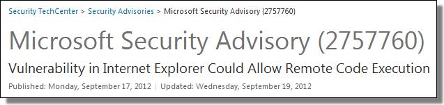 Microsoft Security Advisory (2757760)