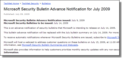 Microsoft Security Bulletin, July 2009