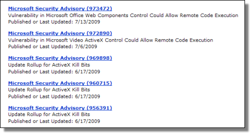 Microsoft Security Advisories