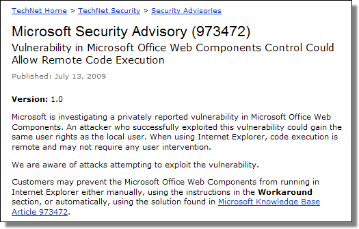 Microsoft Security Advisory 973472