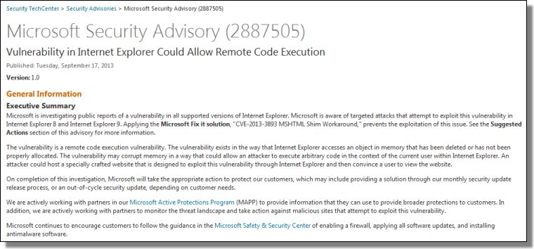 Microsoft Security Advisory for CVE-2013-3893