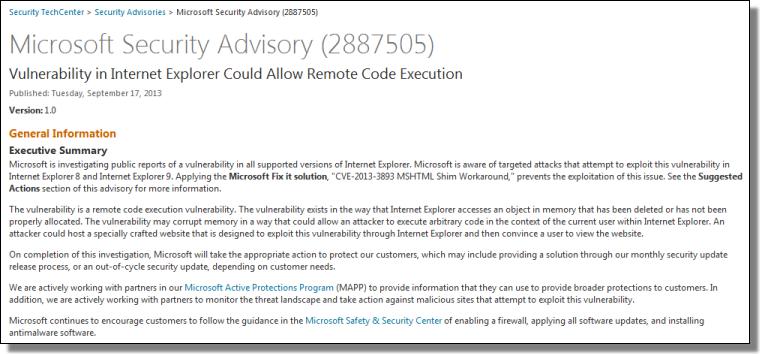 Microsoft Security Advisory for CVE-2013-3893