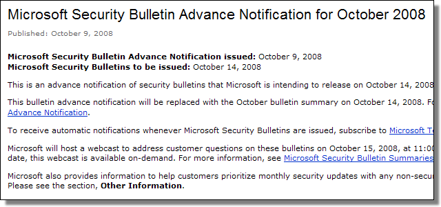 Microsoft's Updates for October 2008