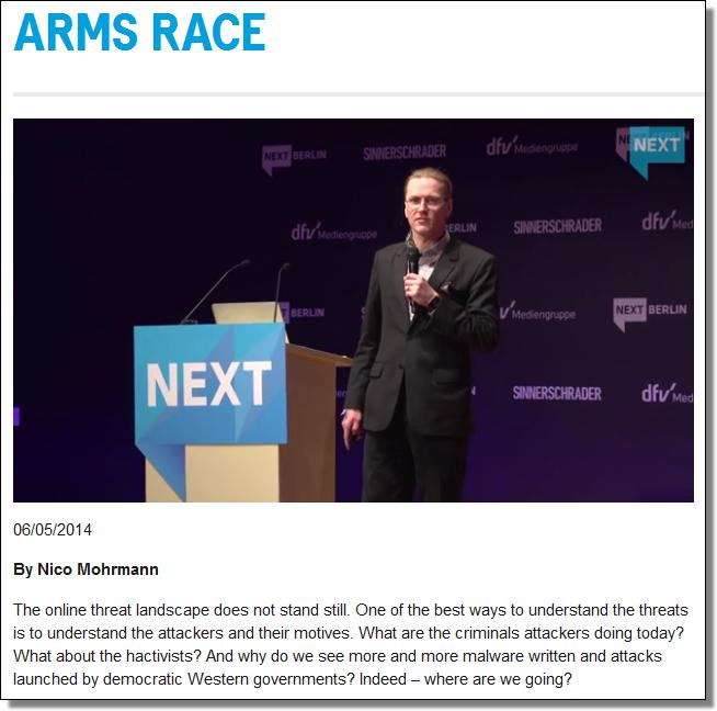 NEXT: Arms race