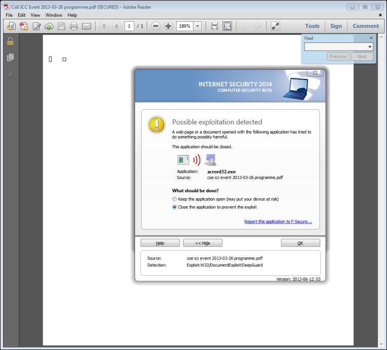 Miniduke vs F-Secure Internet Security 2014