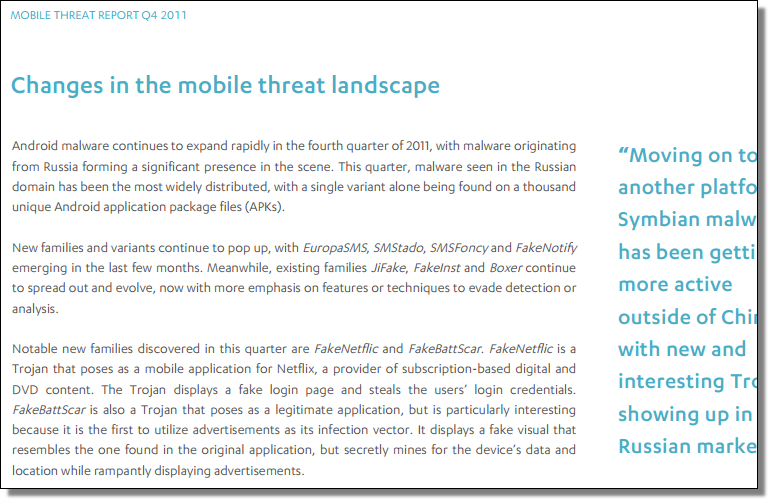 Mobile Threat Report, Q4 2011