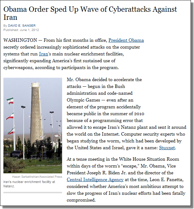 Olympic Games, Stuxnet, Obama