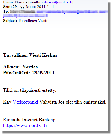 Nordea phishing