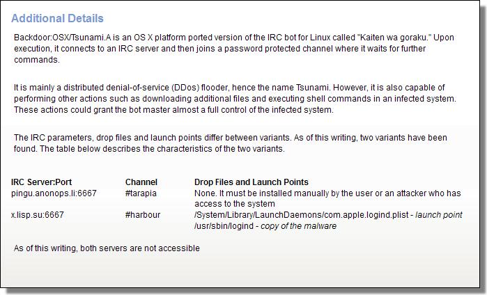 Backdoor:OSX/Tsunami.A