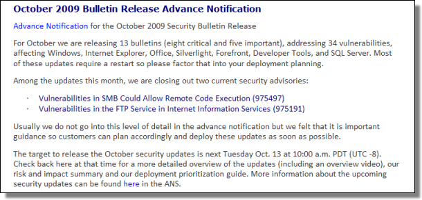 Advance Notification Bulletin, October 2009