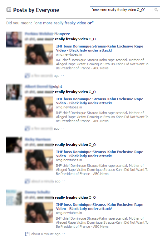 Facebook search, oh shit, one more really freaky video O_O