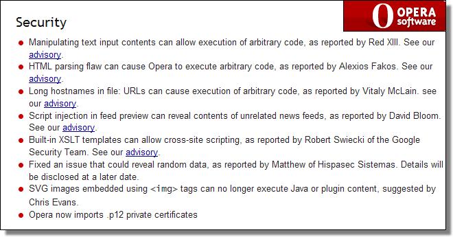 Opera 9.6.3 Security Updates