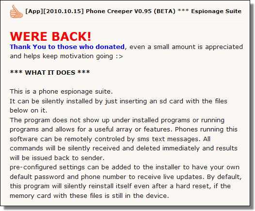Phone Creeper v0.95