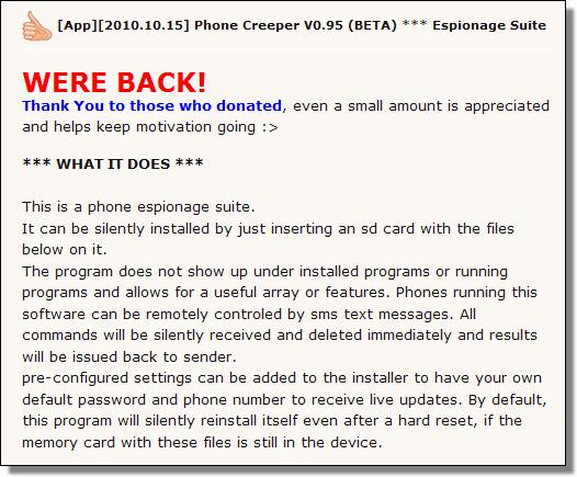 Phone Creeper v0.95