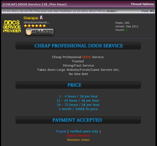 Professional DDoS, forum posting