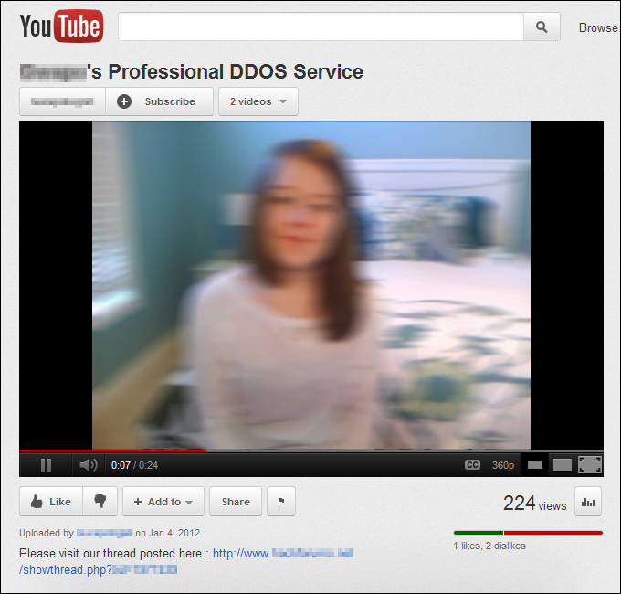 Professional DDoS, YouTube
