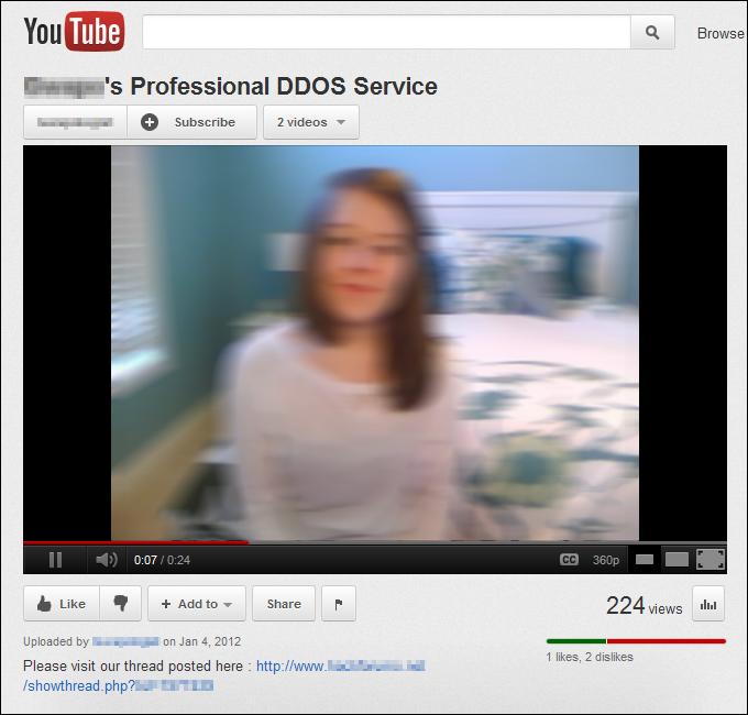Professional DDoS, YouTube