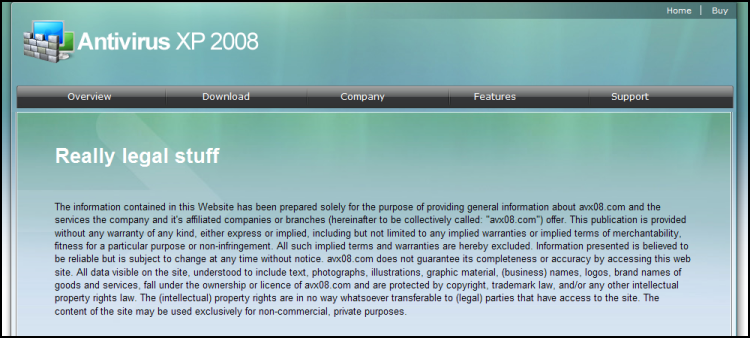 Spyware Rogue : Antivirus XP 2008 : Really Legal Stuff