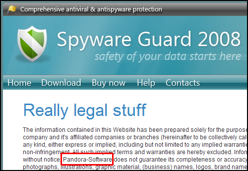 Rogue SpywareGuard 2008 - Really Legal Stuff