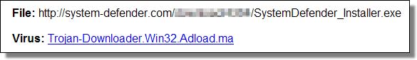 Rogue SystemDefender - Trojan-Downloader.Win32.Adload.MA