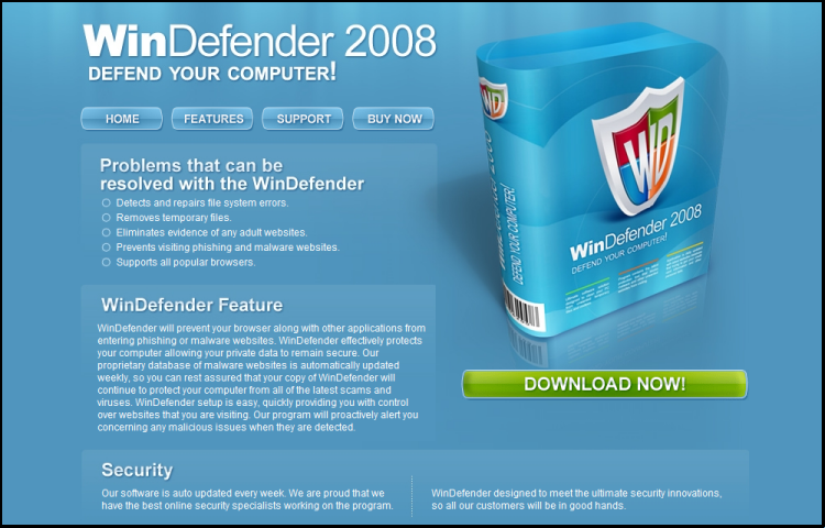 Spyware Rogue : WinDefender 2008