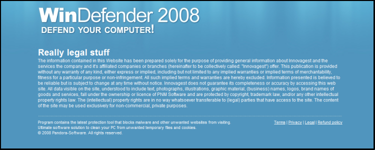 Spyware Rogue : WinDefender 2008 : Really Legal Stuff