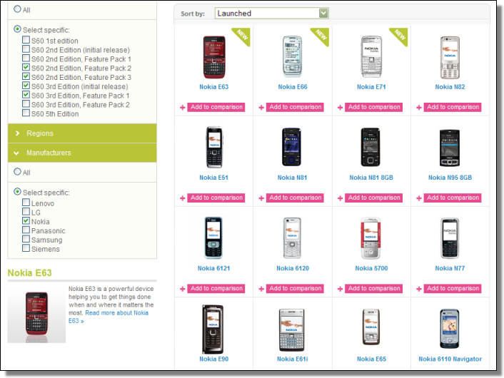 S60.com, Compare Devices