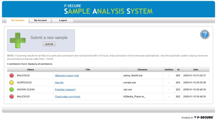 Sample Analysis System, My Samples View