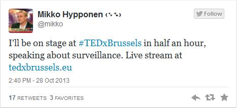 TEDxBrussels, https://twitter.com/mikko/status/394805828852928512