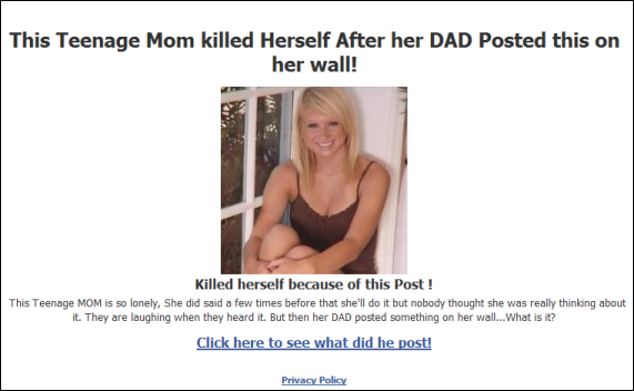 Teenage MOM Killed herself