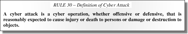 The Tallinn Manual on the International Law Applicable to Cyber Warfare, Rule 30