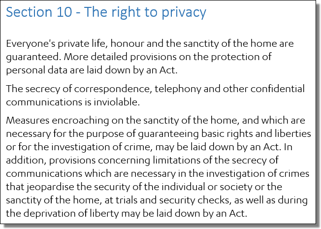 The Constitution of Finland, Section 10, The right to privacy