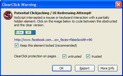 NoScript — ClearClick Warning