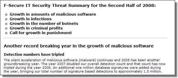 Threat Summary H2-2008