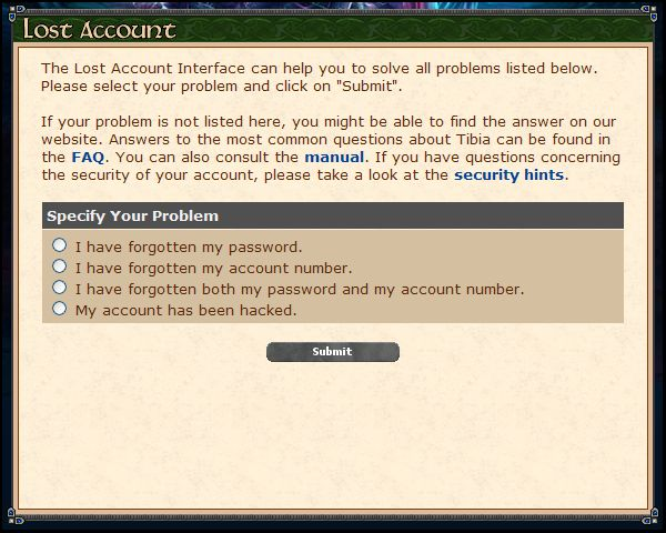 Tibia Lost Account