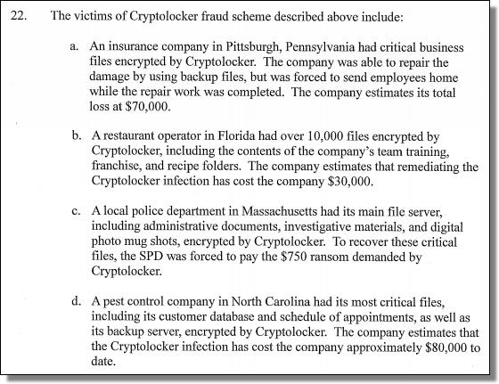 Tovar, CryptoLocker victims