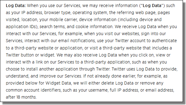 Twitter's Privacy Policy, Log Data