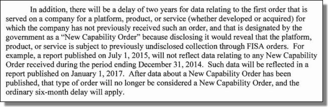 US DOJ, FISA, New Capability Order
