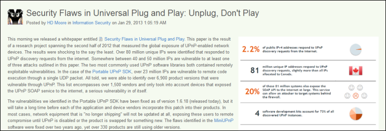 Rapid 7, Security Flaws in Universal Plug and Play
