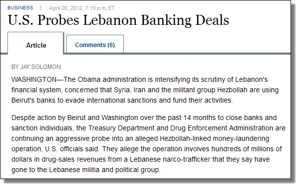 U.S. Probes Lebanon Banking Deals