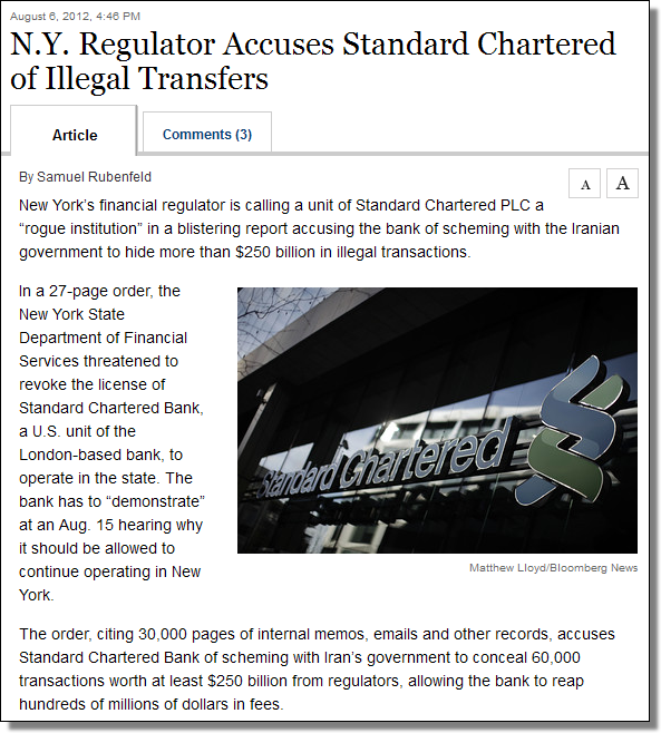N.Y. Regulator Accuses Standard Chartered of Illegal Transfers