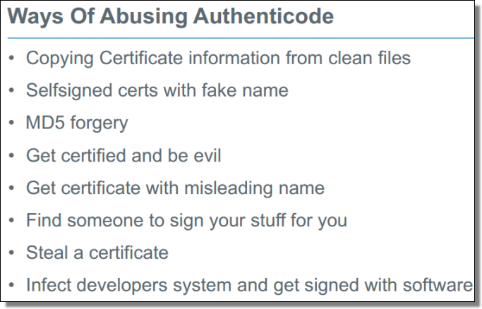 Ways Of Abusing Authenticode