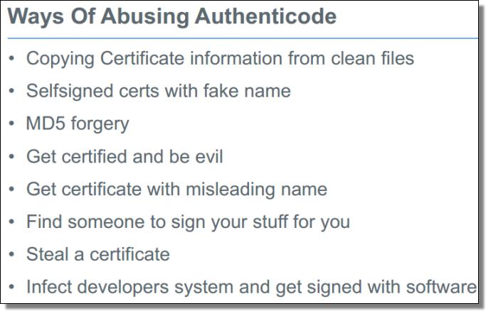Ways Of Abusing Authenticode