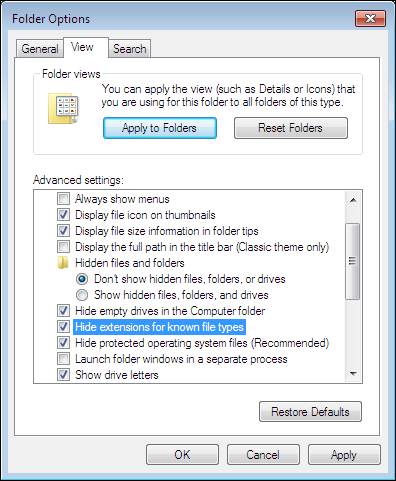 Windows 7 Folder Options