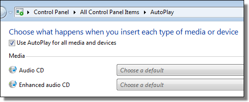 Windows 7 AutoPlay defaults