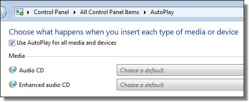 Windows 7 AutoPlay defaults